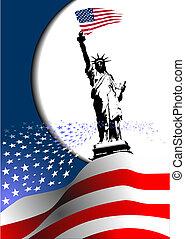 –, единый, image., орел, американская, 4-ый, состояния, флаг, вектор, america., июль, день, независимость