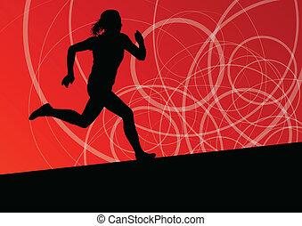 абстрактные, бег, иллюстрация, silhouettes, вектор, задний план, активный, легкая атлетика, спорт, женщины