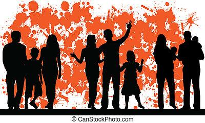 абстрактные, вектор, семья