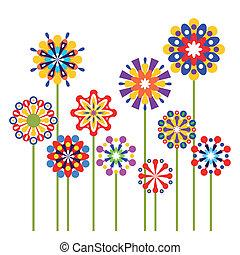 абстрактные, вектор, цветы, красочный