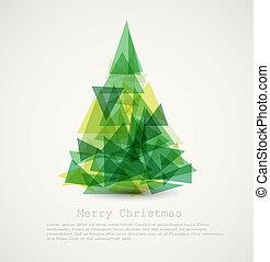 абстрактные, дерево, вектор, зеленый, рождество, карта