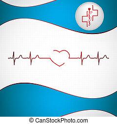 абстрактные, задний план, медицинская, ekg, кардиология