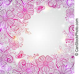 абстрактные, задний план, цветочный