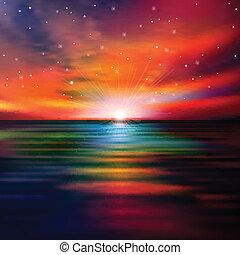 абстрактные, закат солнца, задний план, море