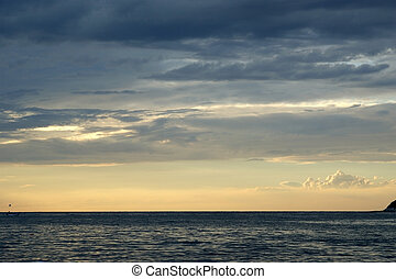 абстрактные, закат солнца, задний план, океан