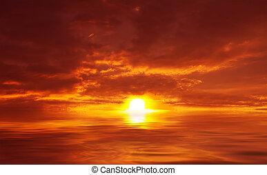 абстрактные, закат солнца, море