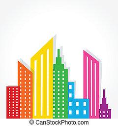 абстрактные, красочный, дизайн, здание