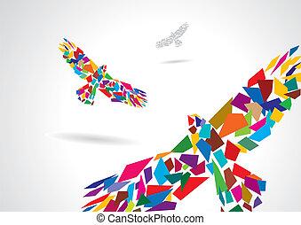 абстрактные, летающий, птица, красочный