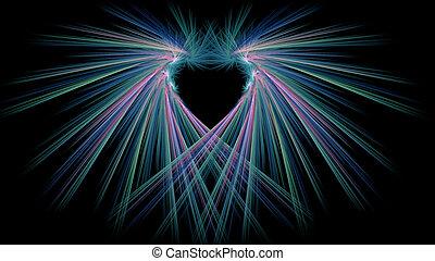 абстрактные, фрактальный, looks, синий, сердце, illustration., rays, как, розовый, зеленый