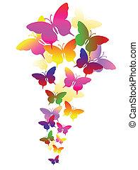 абстрактные, butterflies, задний план