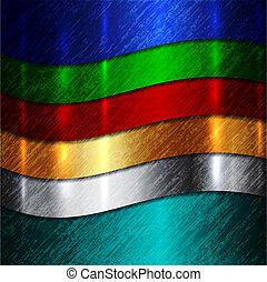 абстрактные, curves, металлический, многоцветный, вектор, задний план