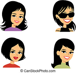 аватар, женщины, мультфильм, портрет, иллюстрация
