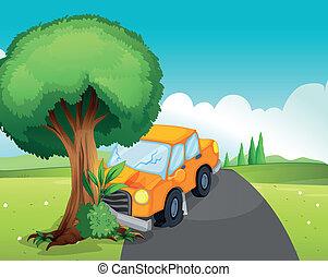 автомобиль, авария, дорога, дерево, большой