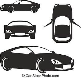 автомобиль, белый, вектор, силуэт, isolated