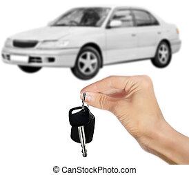 автомобиль, белый, isolated, ключ, рука