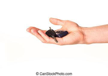 автомобиль, держа, ключ, мужской, рука