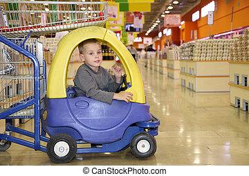 автомобиль, игрушка, супермаркет, ребенок