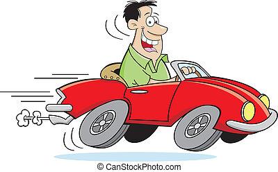 автомобиль, мультфильм, driving, человек