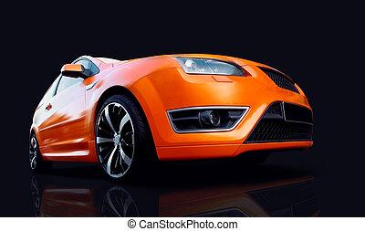 автомобиль, спорт, оранжевый, дорога, красивая