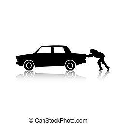 автомобиль, pushing, силуэт, человек