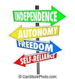автономия, свобода, arrows, знак, дорога, self-reliance, независимость
