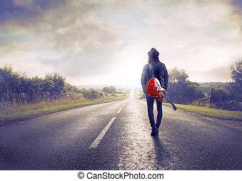 автострада, гулять пешком, человек
