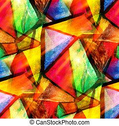 акварель, треугольник, цвет, шаблон, абстрактные, бесшовный, текстура, воды, покрасить, желтый, дизайн, бумага, задний план, зеленый, изобразительное искусство, красный