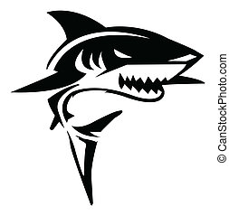 акула, вектор, иллюстрация
