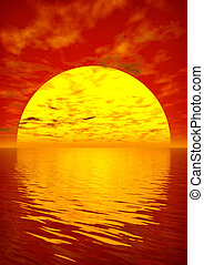 алый, закат солнца