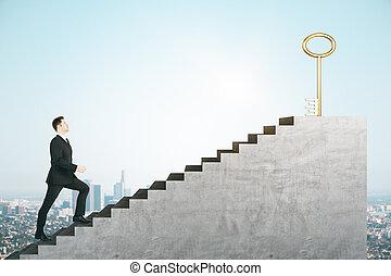 альпинизм, бизнесмен, лестница, ключ