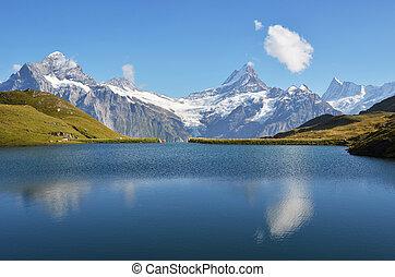 альпы, озеро, bachalp, швейцарский, бернский