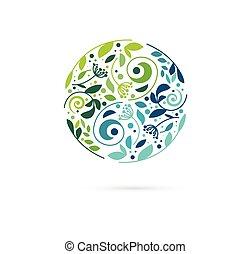 альтернатива, концепция, китайский, оздоровительный, дзэн, значок, инь, -, травяной, вектор, лекарственное средство, логотип, медитация, янь