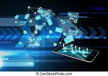 анализ, образ, интерфейс, композитный, задний план, данные