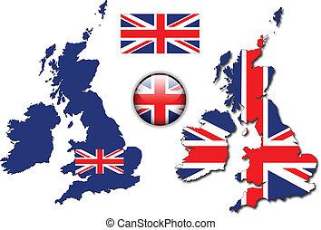 англия, кнопка, флаг, карта, вектор, uk