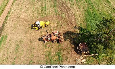 антенна, трутень, широкий, сельское хозяйство, коричневый, поле, скомбинировать, harvesters, посмотреть