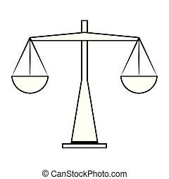 античный, вес, символ, isolated, черный, белый, баланс