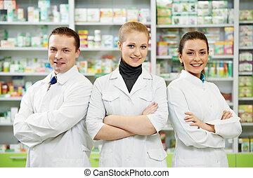 аптека, команда, женщины, аптека, химик, человек