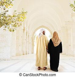 арабский, мусульманка, гулять пешком, пара, вместе