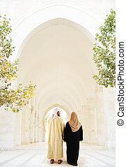 арабский, мусульманка, пара