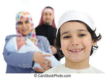 арабский, семья, счастливый