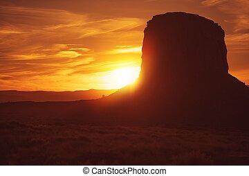 аризона, закат солнца, пустыня, сильный северный ветер