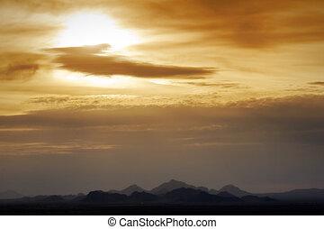 аризона, закат солнца, пустыня