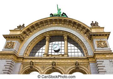 арка, это, station., 1971, портал, швейцария, вход, destroyed, -, станция, старый, один раз, lucerne, lucerne, главный, железнодорожный, фронт, was, огонь