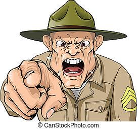 армия, сердитый, shouting, сержант, дрель, мультфильм