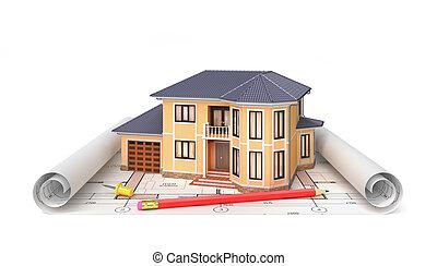 архитектор, жилой, project., дом, blueprints., иллюстрация, инструменты, корпус, 3d