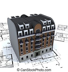 архитектор, здание, жилой, blueprints, вверх
