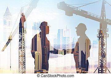 архитектор, shaking, два, рука
