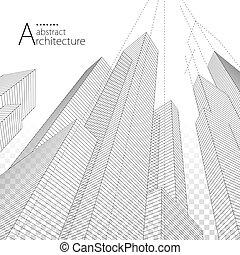 архитектура, городской, абстрактные, здание, современное, background., дизайн