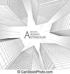 архитектура, современное, городской, здание, дизайн, background., абстрактные