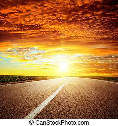 асфальт, над, драматичный, закат солнца, красный, дорога